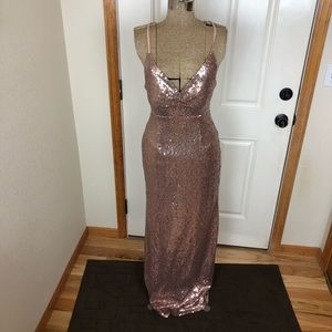 Nightway Rose Pink Sequin Prom Homecoming Dress